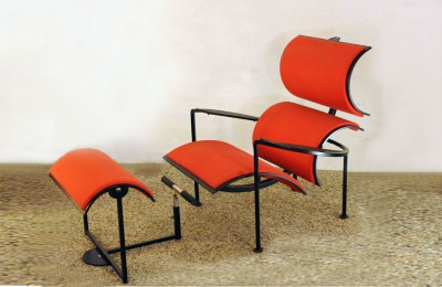 Carlo Forcolini-Alias 80's armchair with footrest 'Signorina Chan'