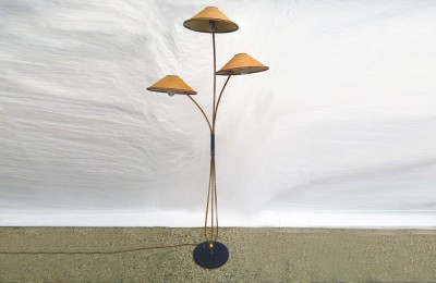 50s floor lamp with 3 lights in brass and fabric