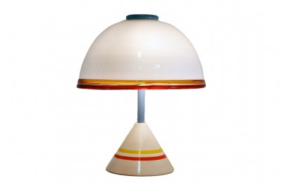 Leucos 80's table lamp in blown glass
