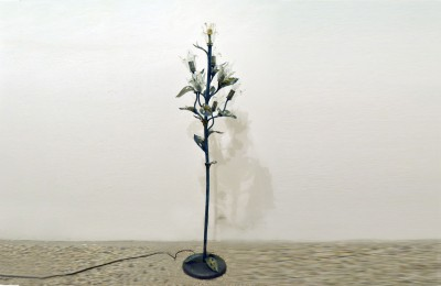 Poliarte Vicenza 60's floor lamp in iron and Murano glass i