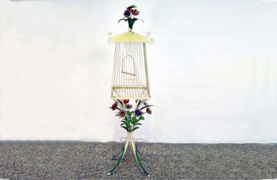 Mid-century bird cage in painted wrought iron