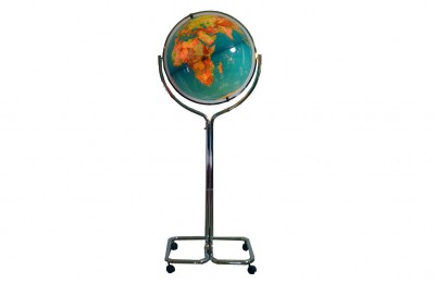 70's lighted  world map on chromed foot with wheels