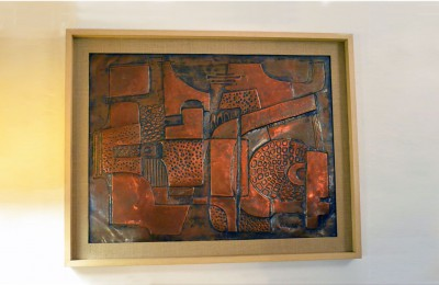 60's wall panel – hand embossed copper P. Martini