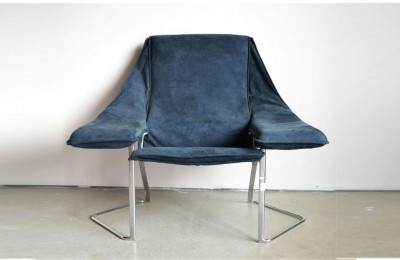 80's design armchair with chromed steel foot