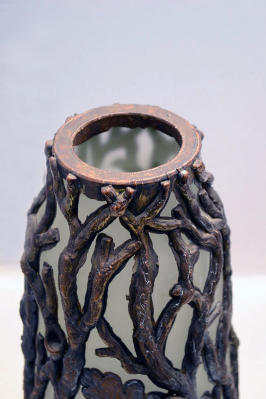 40s Vase In Blown Glass With Bronze Tree Branches Domus Nova
