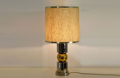 60's italian table lamp in ceramic silver and gold