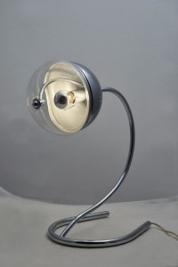 Lampada da tavolo-anni '70-ottone cromato-Stilnovo-modernariato-70's design-table lamp-chromed brass