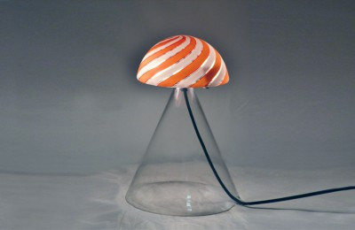 70s glass pair of table lamps Mazzega-Murano