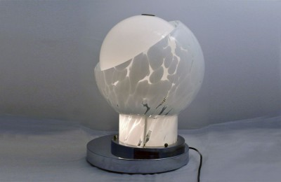 Esperia 70's table lamp in blown glass and chromed brass