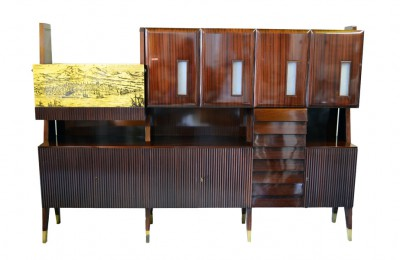 50's rosewood cabinet furniture with bar prod. Vittorio Ducrot Palermo