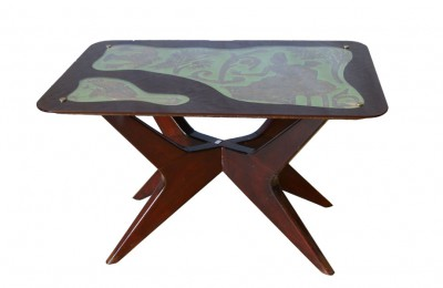 50's coffee table in rosewood with embossed copper decoration
