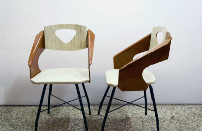 Carlo Ratti Pair of 50's Chairs in Curved and Laminated Plywood