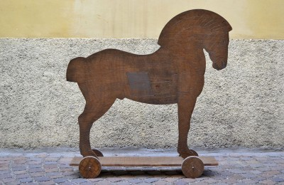 Wooden sculpture 'Trojan Horse' form the 60s