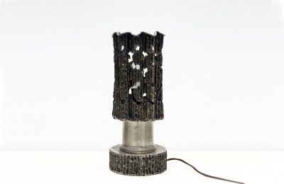 Sculpture 70's table lamp hanmade in pewter