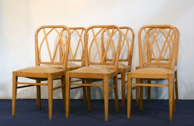 Set of 6 chairs in ash wood from the 1950s attr. Pierluigi Colli