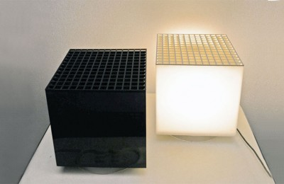 Cini & Nils 70's cubes flowerpot and lamp in plexiglass