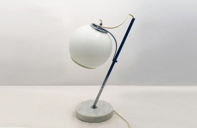1970's Table lamp with adjustable glass lampshade and marble base
