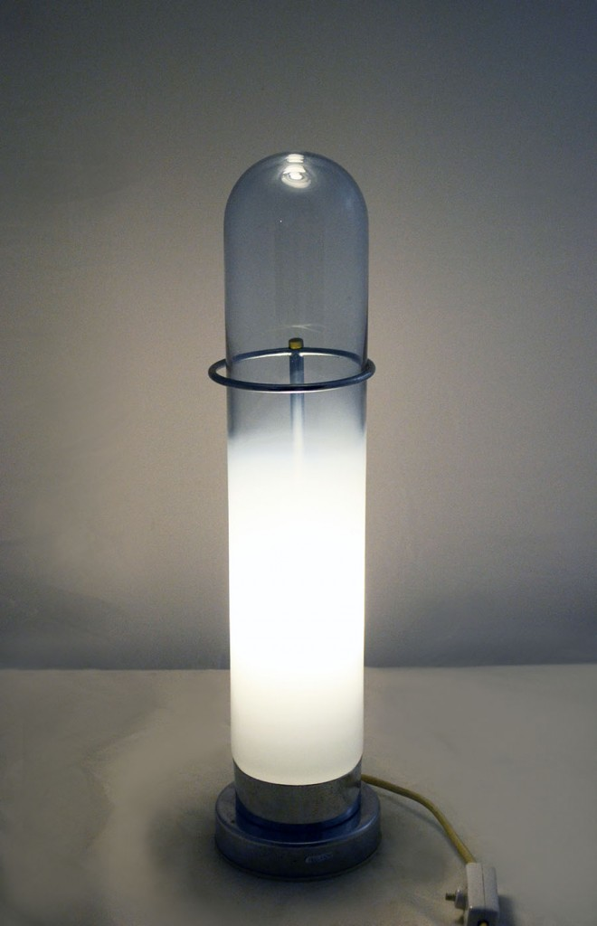 1970 S Table Lamp In Blown Alessandrite Glass And Chromed