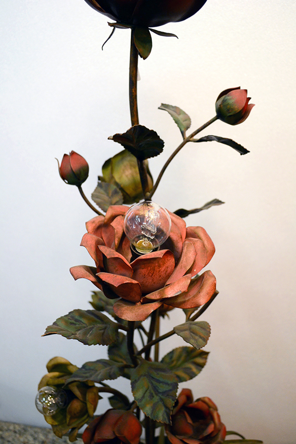 Floor Lamp Sculpture Of Rose Plant In Painted Wrought Iron