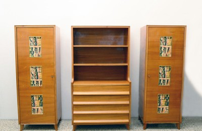 Italian 1950's divisible furniture in ash wood with painted glass panels