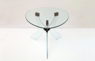 1950's Coffee Table in cut crystal with wooden clamps