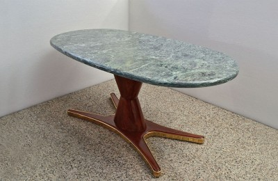 Vittorio Dassi Dining Table with rosewood foot and oval green alps marble, 1950s