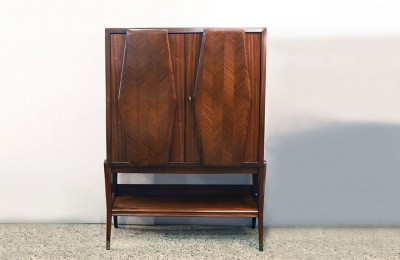 Vittorio Dassi 1950's bar furniture in rosewood with mirrors and lighting