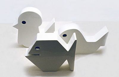 Set of three ceramic stylized animals of Italian production, 1960s