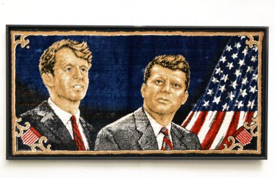 Velvet tapestry depicting Kennedy brothers, 1960's Italian production