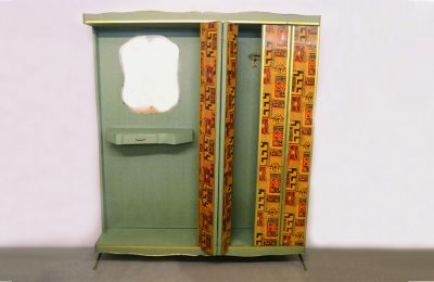 Mid-century entrance furniture with wardrobe in decorated wood and vipla