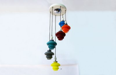 1950's chandelier in incamiciato blown glass
