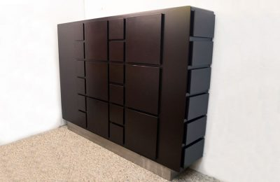 Design cabinet with drawers in laquered wood 1970's Italian production