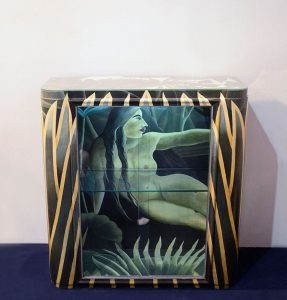 Mobile-vetrina-re-design-Henri-Rousseau-naif-painting-nude-hand-painted-design-furniture-Italia