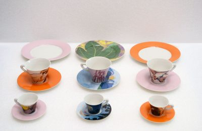 "Coffe and tea set ""Poi ti spiego"", design Ettore Sottsass"
