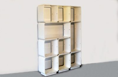Modular bookcase in curved plywood prod. Fiarm 1960s