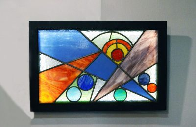 Lighting wall panel in colored marbled glass 1970s