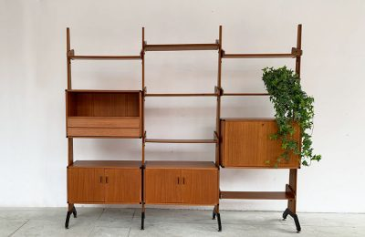 Mid-century double sided bookshelf in teak wood by Vittorio Dassi