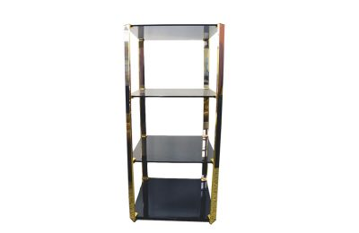 Gallotti & Radice 70's display stand with shelves in fumè crystal and brass