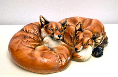 Vintage couple of foxes in ceramic by Ceramiche Ronzan, 1970s