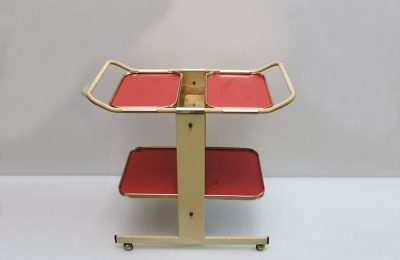 1950's trolley cart with removable trays in plastic laminate and golden aluminium
