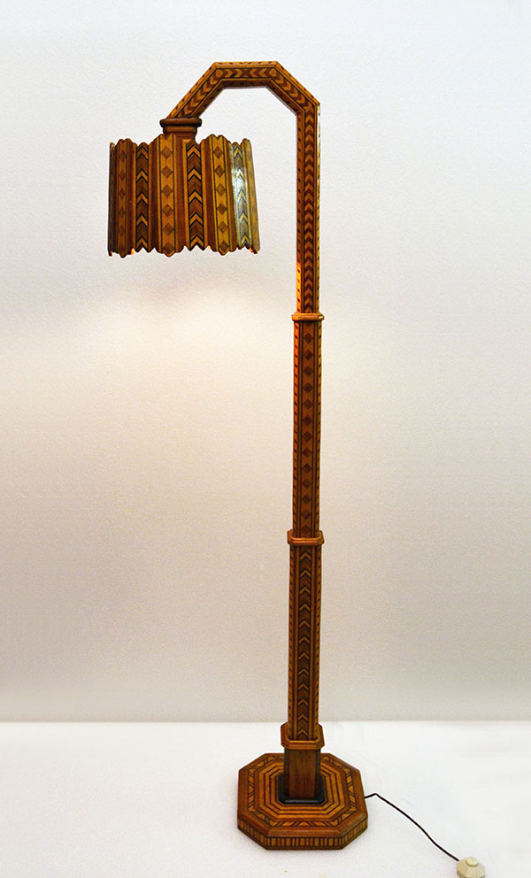 1950 S Floor Lamp In Different Inlaid Woods Domus Nova