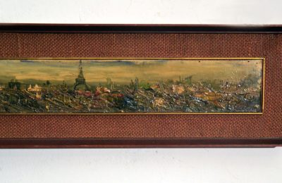 Oil painting Paris panoramic view, 1950s