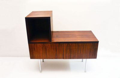 Multifunction 1960's furniture in rosewood with steel feet