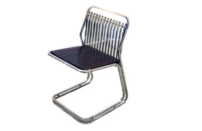 Set of 4 chairs in chromed tubular and rosewood, 1970s