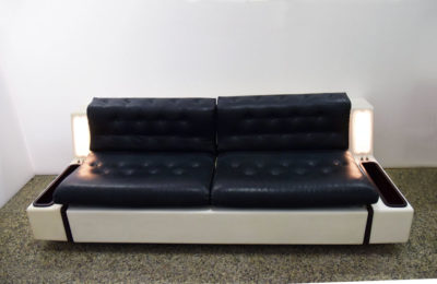 Rare space age sofa bed 'Tortuga' in fiberglass with lighting
