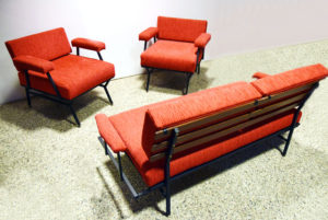 Salotto-Living-room-set-Poltrone-anni-'50-mid-century-armchairs-50's-italian-design-modernariato-red-velvet