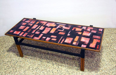 Mid-century coffee table in enameled copper, wood and tubular