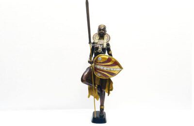 Lost-wax bronze scultpure of African woman warrior (95 cm)