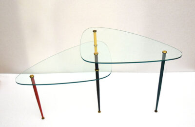 Edoardo Poli for Vitrex coffee table Arlecchino in metal and crystal, 1960s