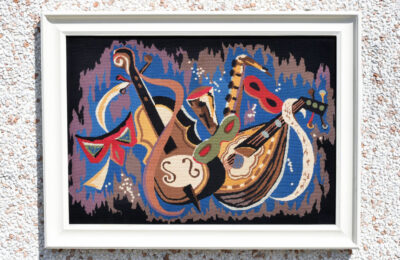 Handmade tapestry with frame, Carnival subject, 1970s
